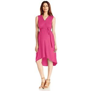 Picture Perfect Maternity Pink Belted Dress
